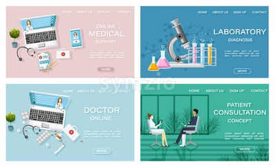 Online treatment medicine and healthcare concept Vector. Patient consultation. Laboratory and medicine prescriptions. flat style templates set Stock Vector