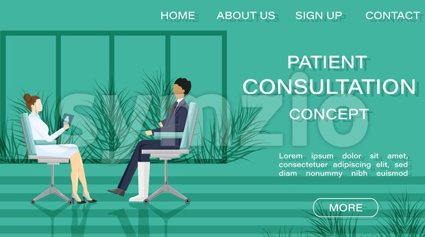 Patient at doctor consultation Vector. Online treatment. Medicine and healthcare concept. flat style template illustration Stock Vector