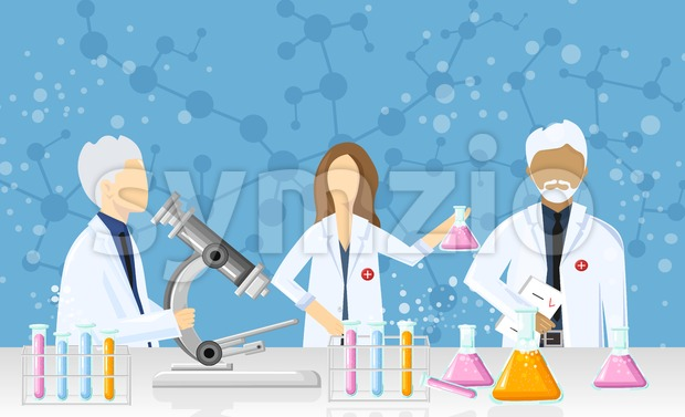 Doctors in a laboratory Vector. Scientists in lab concept. Medical clinique research, testing, studies in chemistry, physics, biology Stock Vector
