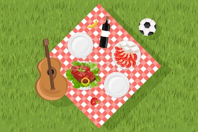Picnic set Vector. Food and music guitar on green grass. set collection. flat style Stock Vector