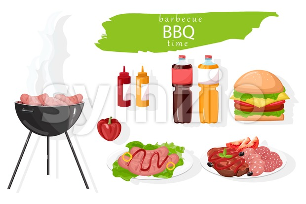 BBQ food set Vector. Meat, burger and drinks collection. flat style