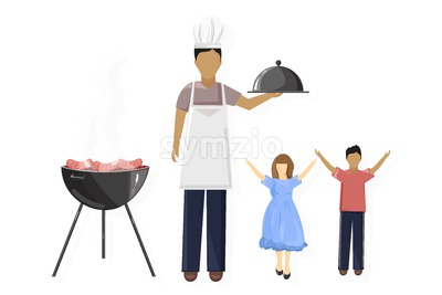 Family picnic Vector. Dad and happy kids. BBQ and leisure time. Flat style Stock Vector