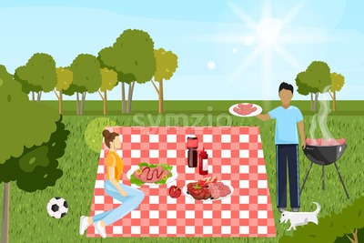 Couple at picnic Vector. Family playing, enjoying BBQ and leisure time. Flat style Stock Vector