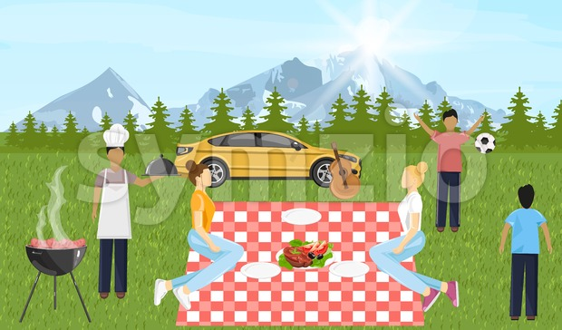 People at picnic Vector. Family playing, enjoying BBQ and leisure time. Mountain view Flat style Stock Vector