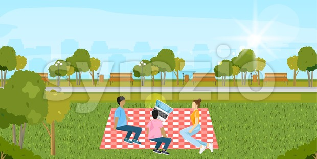 Picnic park Vector. People playing, enjoying BBQ and leisure time. Flat style