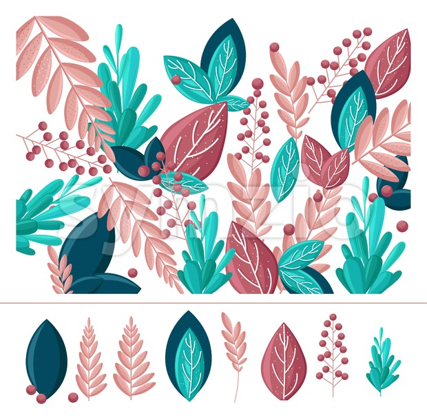 Leaf abstract Vector flat style. Greenery decor. simple trendy background with leaves and plants. floral banner, cover design, poster template Stock Vector