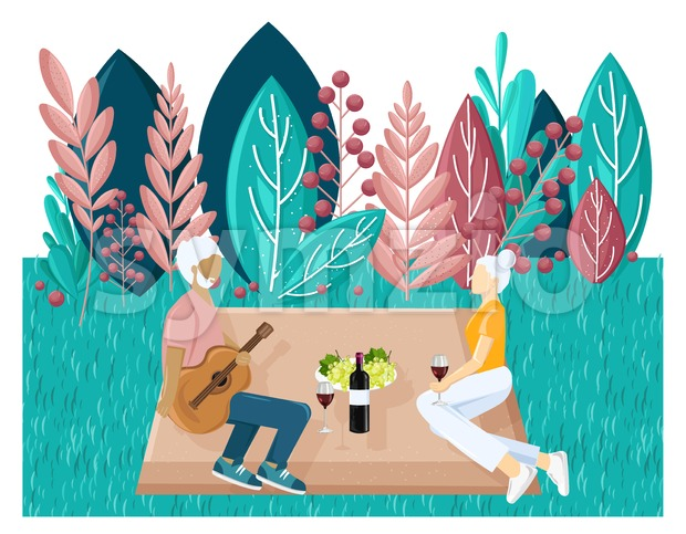 Old couple picnic Vector flat style. Summer holiday leisure. abstract flat background Stock Vector