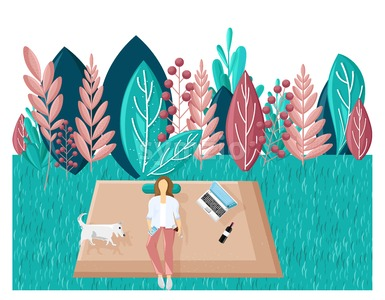 Woman in the park Vector flat style. Summer holiday leisure. Laptop, music and wine. abstract flat background Stock Vector