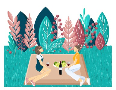 Couple picnic Vector flat style. Summer holiday leisure. abstract flat background Stock Vector