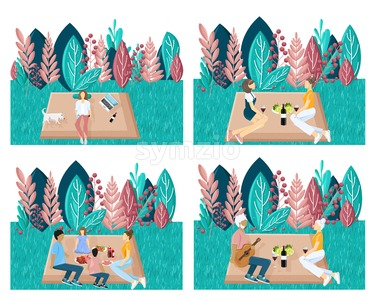 People having picnic in the park. Playing, enjoying BBQ and leisure time. Template set collection. Abstract Flat styles set illustration Stock Vector