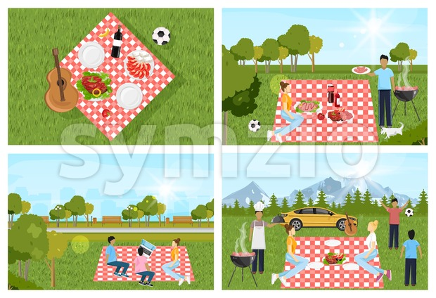 Picnic park set outdoors Vector. People playing, enjoying BBQ and leisure time. Flat style Stock Vector