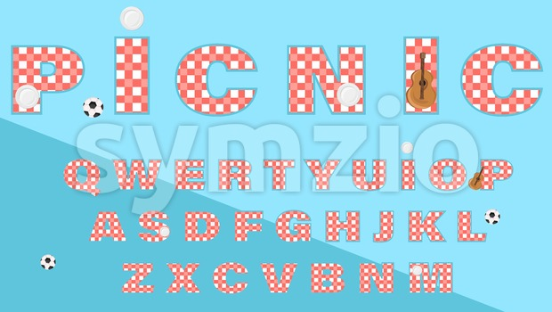 Picnic text gingham pattern Vector. Lettering alphabet abstract illustration Stock Vector