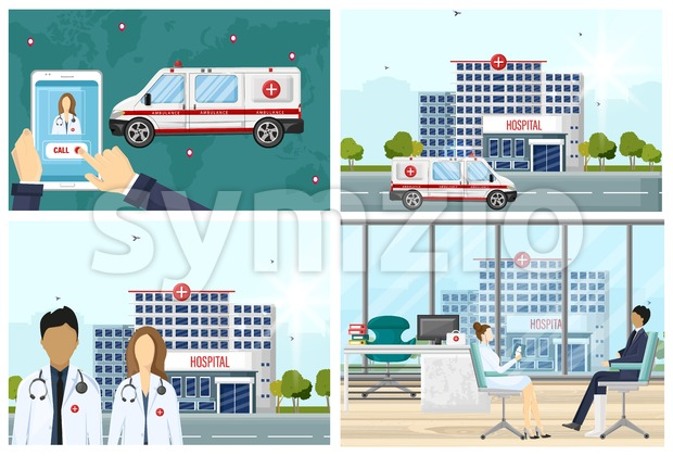 Hospital set Vector flat style. Medical center concept. Practitioner young doctors man and woman, ambulance call, hospital building. Medical staff Stock Vector