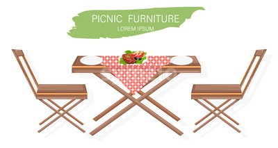 Picnic furniture set Vector flat style. Table and chairs decor design Stock Vector