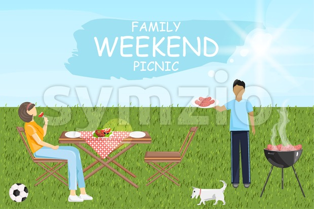 Family weekend picnic bbq Vector. Man and woman eating outdoors green grass sunshine background
