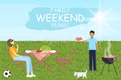 Family weekend picnic bbq Vector. Man and woman eating outdoors green grass sunshine background Stock Vector