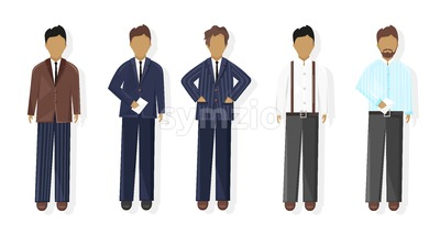 Business men Vector flat style. business team template icon isolated Stock Vector