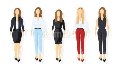 Business women Vector flat style. business team template icon isolated Stock Vector