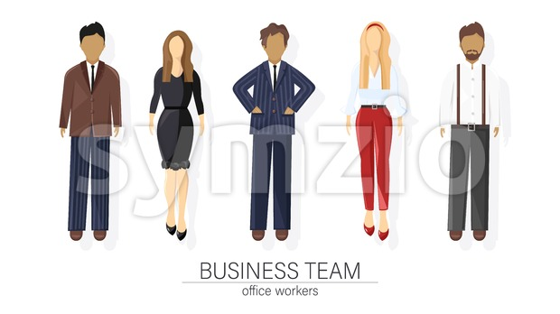 Business team set people Vector flat style. Man and woman business team template icon isolated Stock Vector
