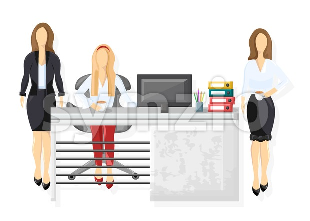 Team working Vector flat style. Brain storming group. Coworking space Stock Vector