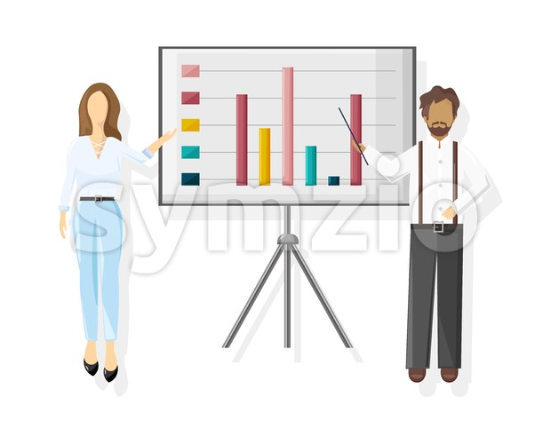 Team working Vector flat style. Business team conference meeting illustration Stock Vector