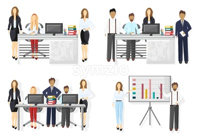 Business team set Vector flat style. Creative team conference meeting illustration Stock Vector