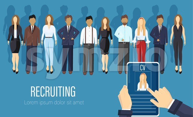 Recruiting agency people Vector flat style. CV analyzing business criteria concept. Job employment candidates