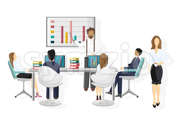 Team working Vector flat style. Business team conference meeting illustration