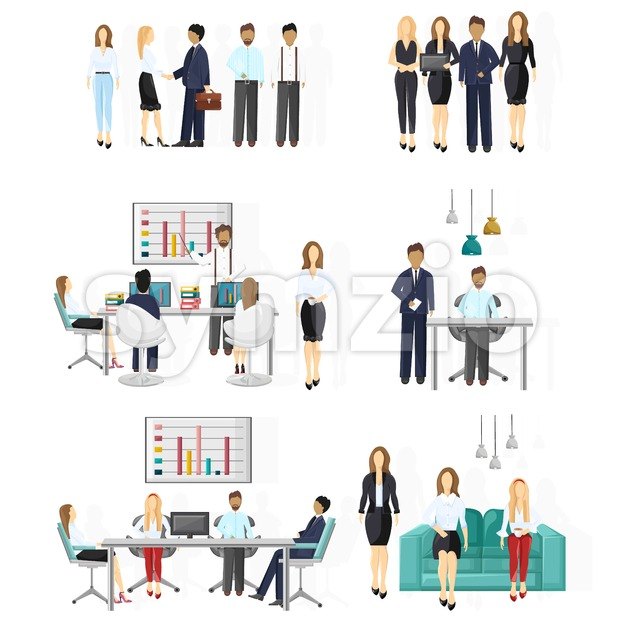 Business team set. People working Vector flat style. Creative team conference meeting illustration Stock Vector