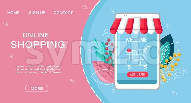Shopping online app sale vector flat style. Advertise banners or brochure poster with smartphone. Woman shopping ads. Trendy color Stock Vector