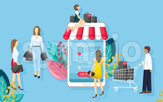 Shopping online app sale promotion vector flat style. Advertise banners or brochure poster with smartphone. Woman shopping ads. Trendy color Stock Vector