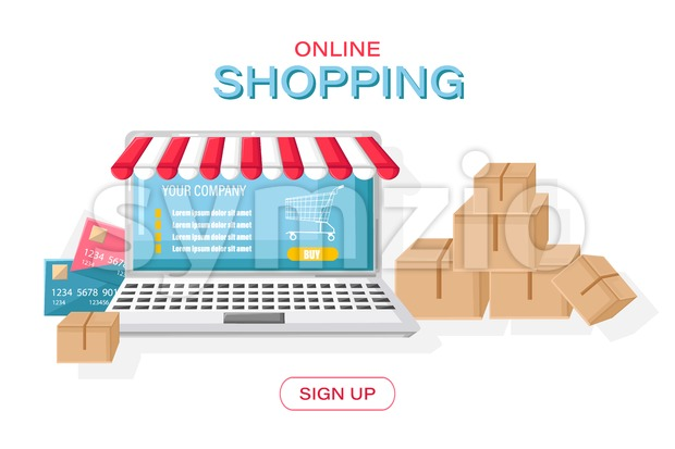 Online shopping notebook Vector flat style. Retail concepts boxes shipping delivery goods template
