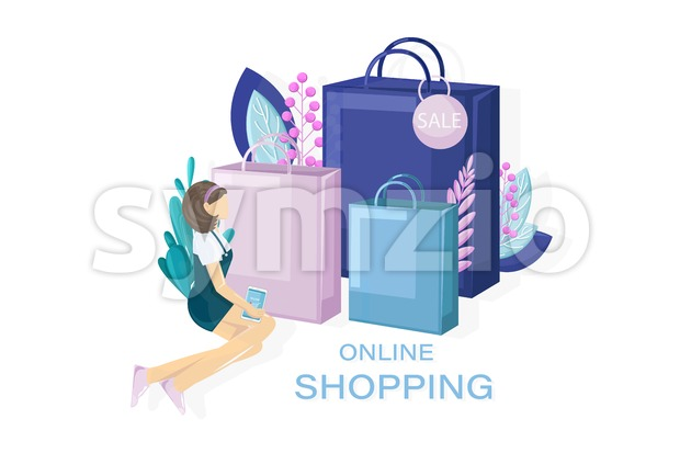 Shopping sale promotion vector flat style. Advertise banners or brochure poster. Woman shopping ads. Trendy color Stock Vector