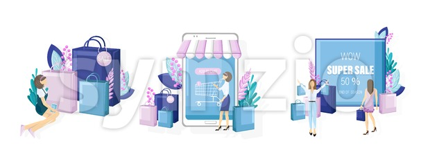 Shopping online sale posters vector flat style. Advertise banners or brochure set collection. Woman shopping ads. Trendy colors illustration Stock Vector