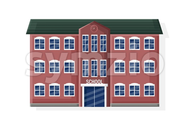 School facade building isolated flat style vector illustration Stock Vector
