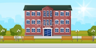 School entrance Vector. Education facade building. Poster template back to school concept flat style Stock Vector