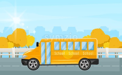 School bus Vector flat style. Autumn fall background illustration Stock Vector