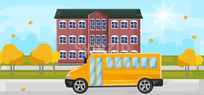 School bus at the school entrance Vector flat style. Autumn fall background Stock Vector