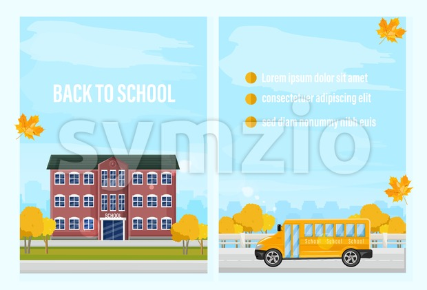 Back to school fall Vector template. Autumn school facade and school bus. flat style trendy colors brochure poster Stock Vector