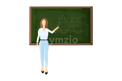 Young female teacher near blackboard set. Trendy color vector illustration flat style isolated Stock Vector