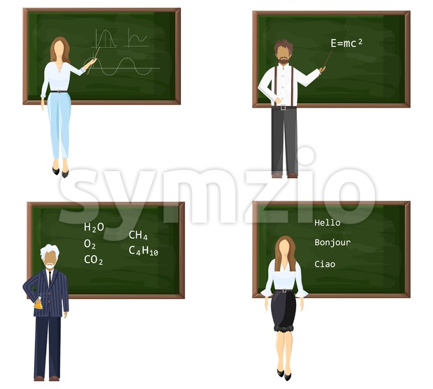 Young and senior male or female teachers near blackboard set. Trendy color vector illustration flat style isolated Stock Vector
