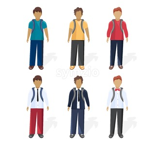 School boy set collection Vector flat style. Different outfits styles Stock Vector