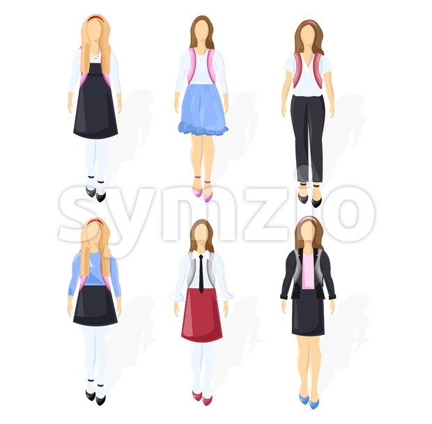 School girl set collection Vector flat style isolated on white Stock Vector