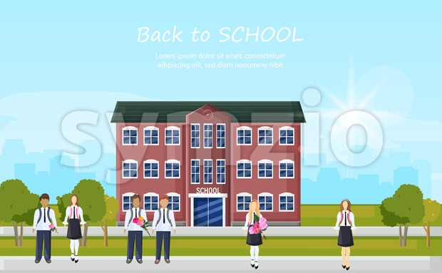 School entrance and kids running outside Vector. Education facade building. Poster template back to school concept flat style Stock Vector