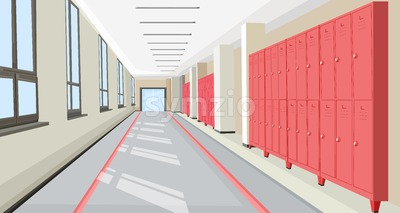 School hall with school lockers Vector interior flat style illustration Stock Vector
