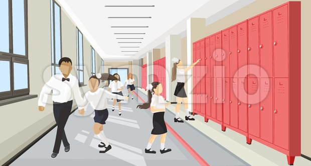 Kids running in the school hall Vector flat style. Back to school concept Stock Vector