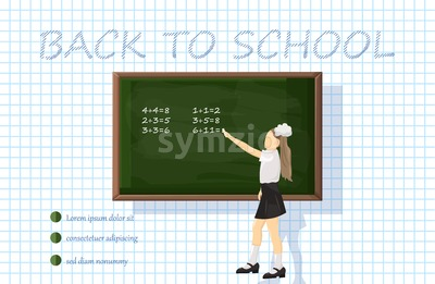 Girl at the chalk board Vector. Green board with mathematics formulas. Back to school concept Stock Vector