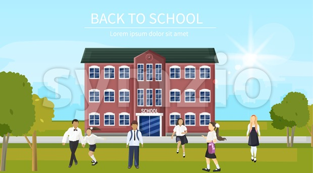 Back to school kids running the entrance Vector. Playing happy children flat style outdoors Stock Vector