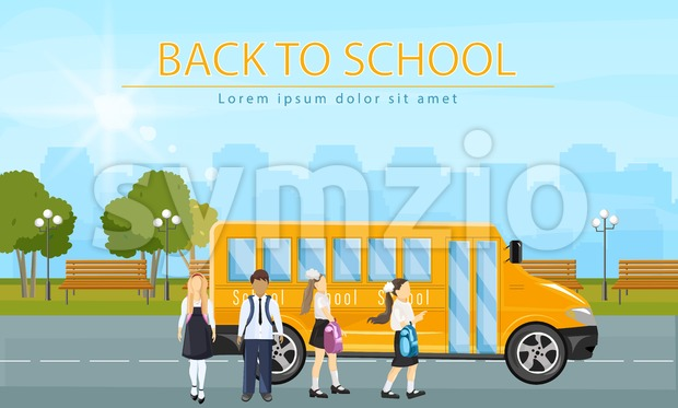 Back to school bus Vector. Kids running to enter the school bus flat style illustration