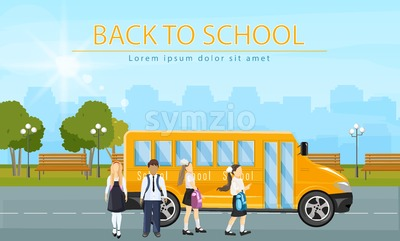 Back to school bus Vector. Kids running to enter the school bus flat style illustration Stock Vector